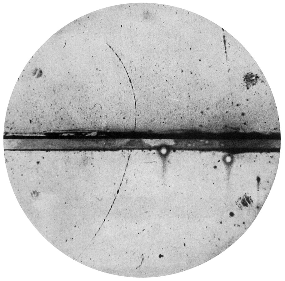 Cloud chamber photograph of the first positron ever observed