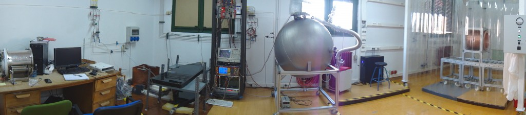 Second hall of the TREX-lab, showing the axion setup, the spherical TPC and the laminar flow cabined with the TREX-DM chamber